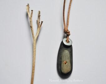 River Stone Necklace - Natural Jewelry - Unique - Men - Women - Eco Friendly