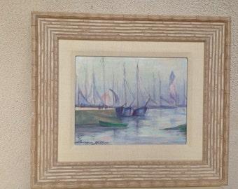 "Vintage Mid Century unique Lenore Gillan signed oil painting blue pastels boat scene 9.5""x7.5"""