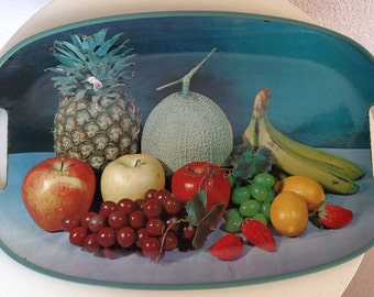 "Vintage tray fruit theme rattan handles plastic made Japan 17""x11.5"""