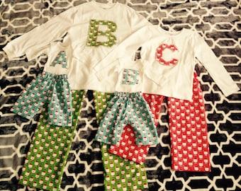 Christmas Pajama's, Family Christmas Pajamas, Santa Christmas Pajama's -Red, Blue, Green Flannel Boys Girls Holiday Sizes 0-8