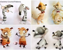 4 Crochet Patterns Meerkat, Cat, Rat, Racoon set Pdf files by Pertseva Etsy