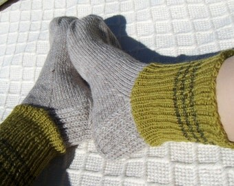 Big size mens BOOT SOCKS natural gray with greens Hand knitted Warm Durable Cozy wool Gift idea Handmade in  FINLAND