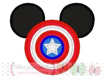 Captain Shield Mouse Digital Machine Embroidery Appliqué Design