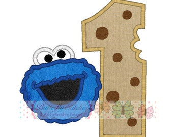 Cookie Monster Number One Birthday Machine Embroidery Digital Applique Design