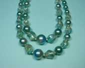 Gorgeous Blue and Green Two Strand Necklace, Vintage 50s,