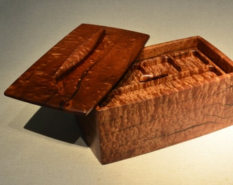 Wooden Keepsake Box, Heavily Checked Pommele Sapele, Canoe Themed box