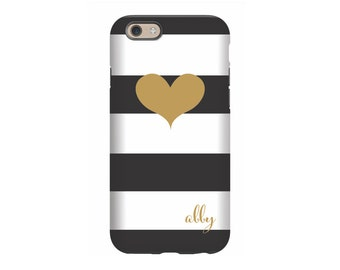 Personalized iPhone 6 case, Gold Heart, iPhone 5 case, iPhone tough case, iPhone snap on case, 3d iPhone case
