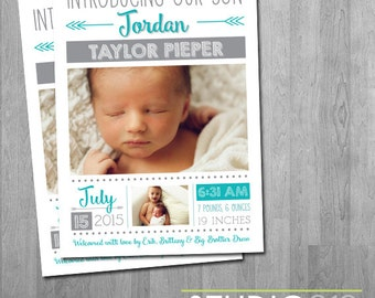 BIRTH ANNOUNCEMENT Arrow Birth Announcement, Custom Colors, Printable File, Printable Announcement, Digital File