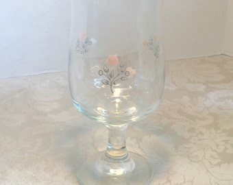 Vintage Pfaltzgraff Remembrance Pattern Red Wine Glass / Stemware by Libbey Glass