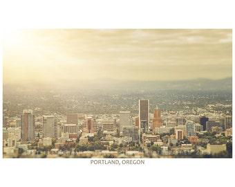 Portland Skyline Print | Cityscape | Portland Oregon Photo | Oregon Photography | Soft Colors | Vintage Tones | 13x19