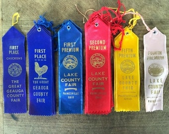 Vintage prize ribbons  / agricultural ribbons / state fair prize ribbon