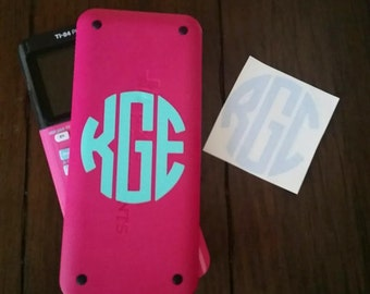 Monogram Initials Decal Personalized Vinyl Sticker for school calculator