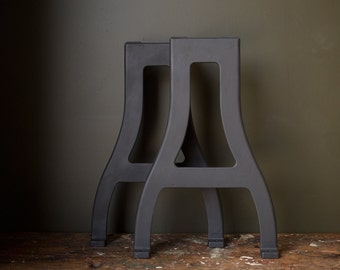 Vintage Industrial Table Legs / 1940's / Original Cast Iron Matte Black Machine Legs / Reclaimed Dining Table Work Bench Metal Lathe Legs