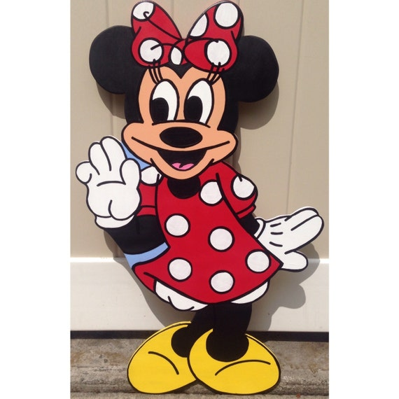 "24"" Disney Minnie Mouse Decoration - Mickey Mouse - Birthday Party Decor - Wall Decor -Hanging Art - Red Polka Dots"