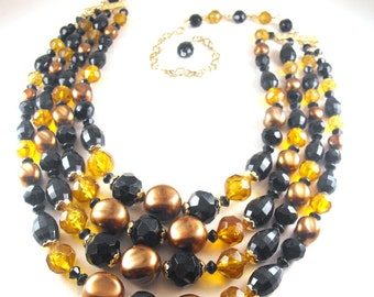Fall Colors Necklace Four Strand Beaded Bib Signed Hong Kong Mixed Acrylic Beads
