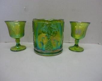 Vintage Green Iridescent Carnival Depression Glass Biscuit Jar - No Lid or Vase & Two Footed Goblets / Candle Holders