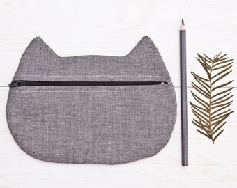 Cute cosmetic, bridesmaid gift bags, Makeup Bag, Zipper Pouch, Cat Pencil Case Gray Beauty Bag Mother Day Gift