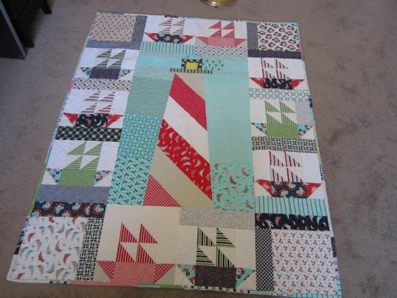 PDF pattern Lighthouse and Sailboats Lap quilt using Moda