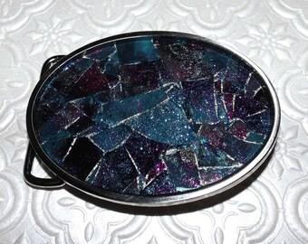 Smoked Metallic Teal and Fuchsia Shattered Mosaic Glass Belt Buckle