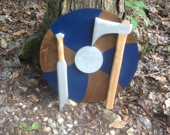 Viking Toy Set~ Sword and Shield ~ Wooden Viking Shield and Axe~ Viking Wall Decor~ Ragnar Lothbrook Toys~ Viking Party Decorations