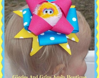 Big Bird, Cookie Monster or Elmo Over the TOP - Hair Bow and Band - Also Available in Cookie Monster and Elmo
