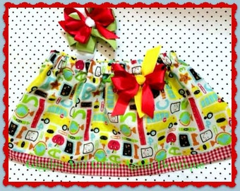 Back to School Twirl Skirt with Matching Hair Bow