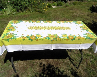 Vintage Rectangular Tablecloth, Retro Floral Cotton Tablecloth, Mid Century Lime Yellow Greens Tan Floral Tablecloth, Vintage Table Linens
