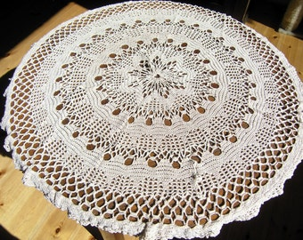 Vintage Round Crochet Tablecloth, Mid Century Round Champagne Colored  Tablecloth, Round Lace Tablecloth,