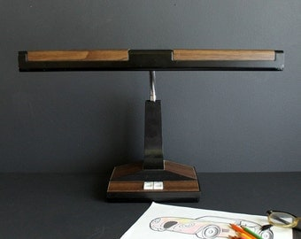 Vintage Retro Fluorescent Desk Lamp Black with Faux Wood Grain