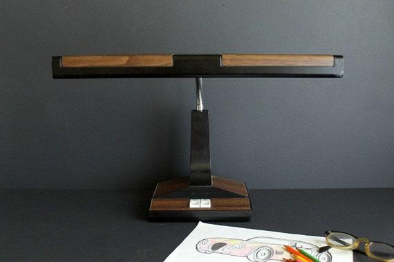 Vintage Desk Lamp Retro Fluorescent Black With Faux Wood Grain
