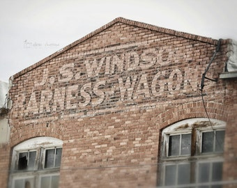 Entry Decor, Rustic Wall Art, Industrial Brick Sign Photograph, Mud Room Decor, Old Ghost Sign Picture | 'J.S. Windsor Harness Wagons'