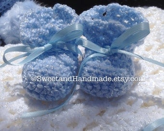 Crochet baby boy booties newborn booties blue baby booties handmade baby boy booties