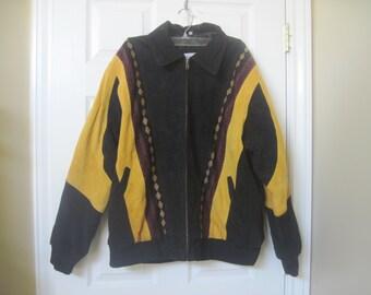 vintage leather jacket mens size Large lined leather suede jacket