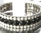 Vintage Black and Milk Glass Rhinestone Bracelet 3 Row Wide Cuff Prong Set Cabochon Silver Tone Bracelet