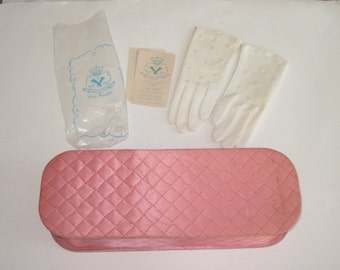 Vintage Quilted Pink Glove Box with NOS Pair Gloves