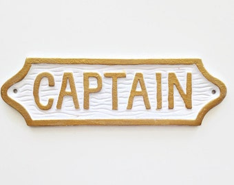 Wall Decor. Captain Sign, Gold Nameplate, Cast Iron Gift for Him, Coastal Wall Hanging, Beach House Sign, Captains Quarters Sign, Wall Decor