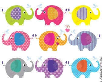 Elephant Clip Art Baby Shower Graphics Animals Clipart Cute Pink Blue Gray Grey Elephant Picture Cartoon Image Commercial Personal Use 10425