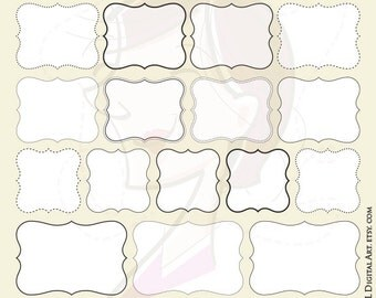 Digital Frames Teacher Scrapbook Office Craft Supplies Clipart DIY Invitation Birthday Graphics Commercial Use Label Tags White Middle 10679