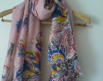 Sandy Peacock Oversize Pareo Oversize Scarf Beach Cover Up Cotton Swimwear Wrap Pareo Handmade Shawl Accessories Summer Fashion Accessories