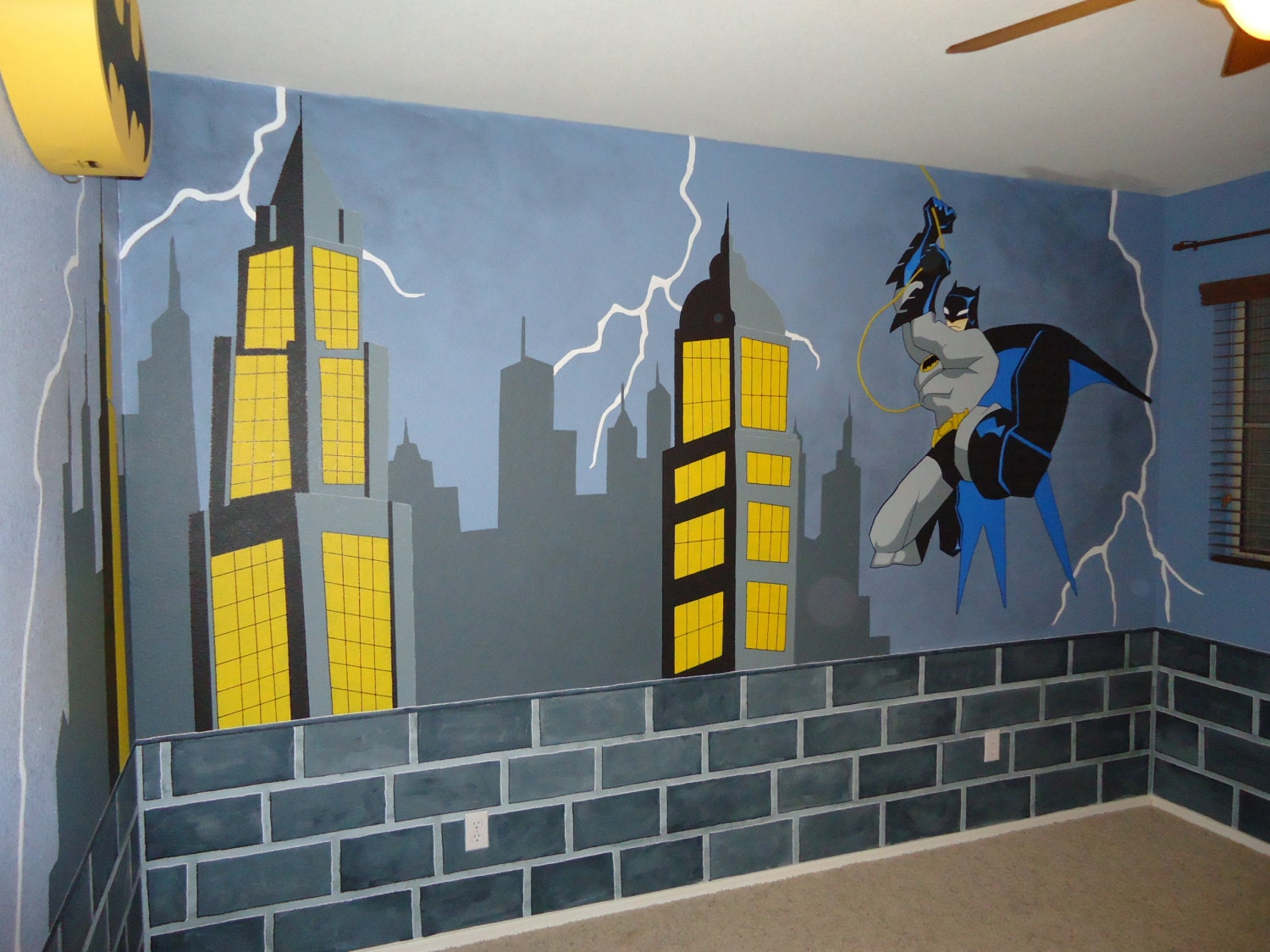 Superhero cityscape wall mural the for Batman wall mural