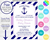 Nautical Baby Shower Invitation - Anchors Aweigh Away Purple Hot Pink Yellow Navy Ahoy Its A Girl Diaper Raffle Ticket Book Request Card