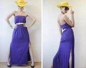 Purple cotton jersey long side slit strapless column maxi dress