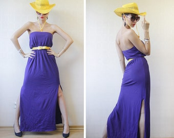 Purple cotton jersey long side slit strapless column maxi dress