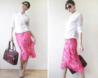 Fuchsia pink pure silk ruffled pencil skirt S-M