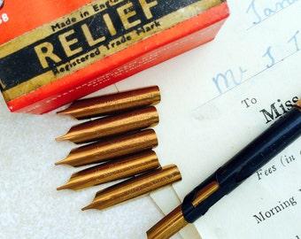 Relief dip pen nibs from R.Esterbrook & Co vintage unused nibs. Set of 6 nibs. Made in England.
