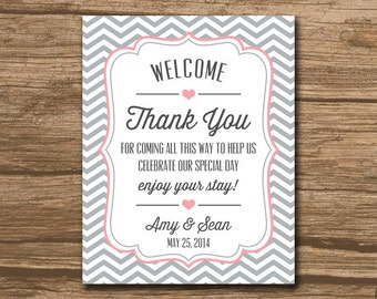 PRINTABLE Welcome Bag Tag, Wedding Favor Tags, Hang Tags, Thank You Tags - welcome, pink and gray or any colors - 465