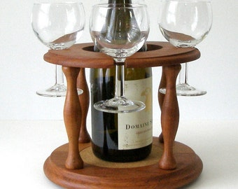 Vtg Goodwood TEAK Wine and Glass Caddy 5 pc. Set Includes Wine Glasses Danish Modern Excellent Condition