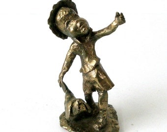 WINSHIP R J BRONZE SCULPTURE Boy And Dog Original 1971 Signed Art Famous Mn Sculptor Mid Century Modern Design Rustic Brutalist Childhood