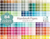 SALE Houndstooth Digital Papers - Rainbow houndstooth Scrapbook Papers - Basic Color Papers - Huge Paper Pack - Instant Download