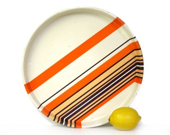 Striped Laurids Lønborg tray, cream, orange, eggplant, Danish design, Dorthe Bruun Rasmussen
